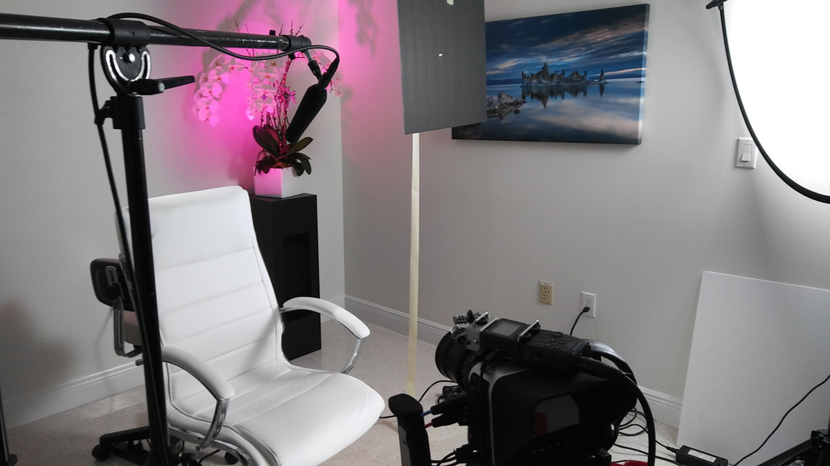 Behind the scenes photo during filming of the testimonial video of Dr. Bowes for Riverchase Dermatology in Miami, FL.