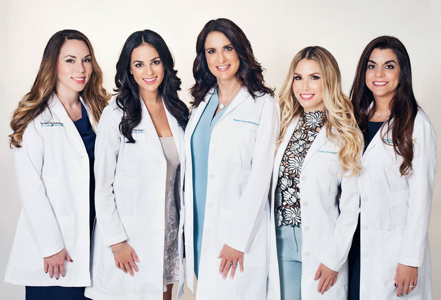 Sunset Dermatology's providers corporate photograph taken at the South Miami location.