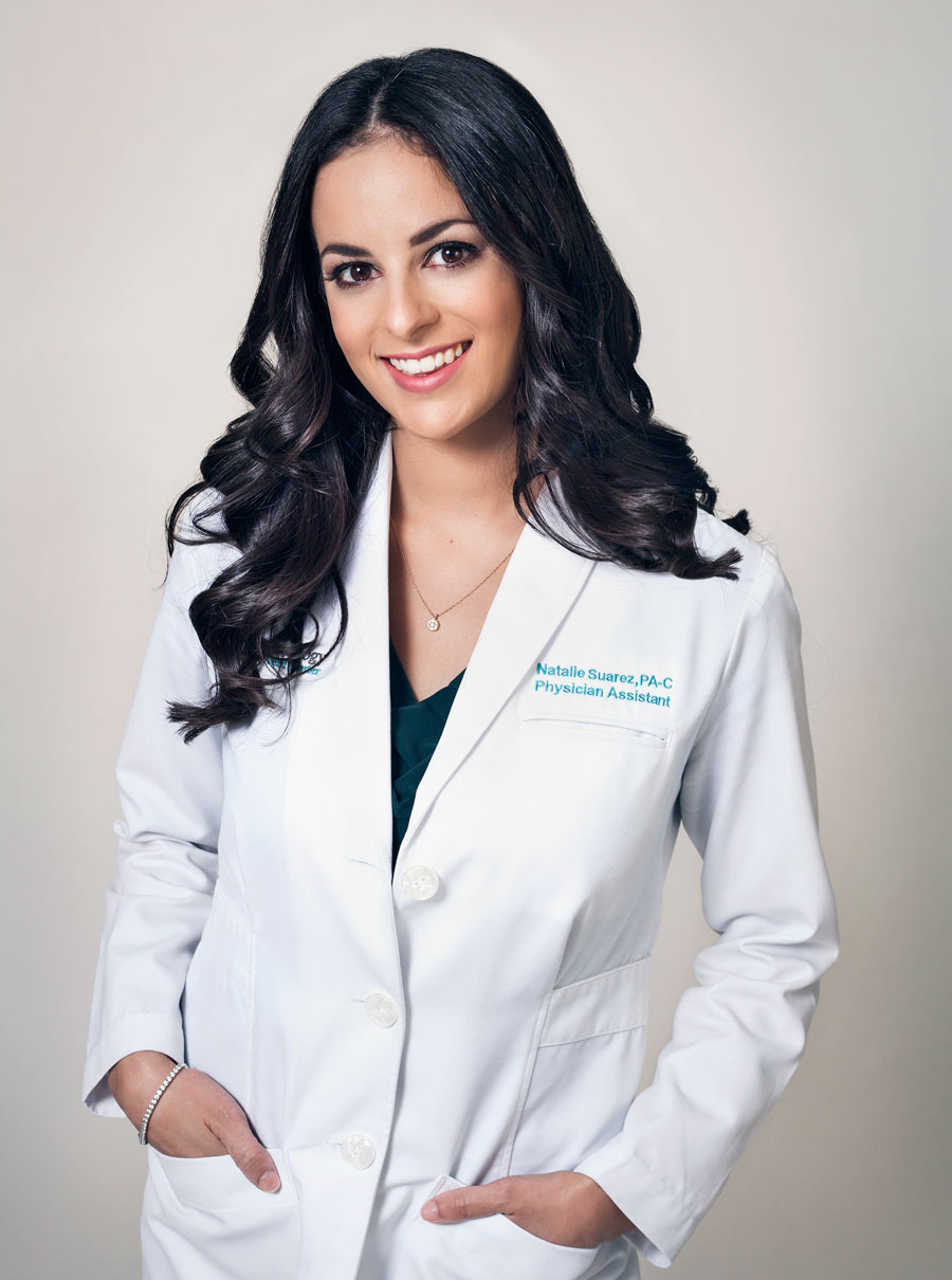 Certified physician assistant, Natalie Suarez, PA-C, corporate photo taken in South Miami.