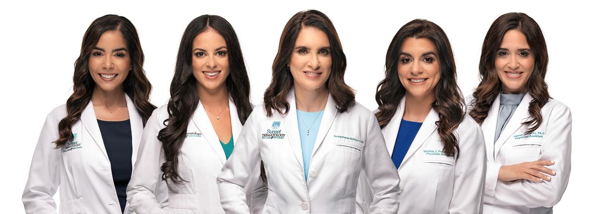 Group photo of Ileana Perez-Quintairos, MD, Diana Amaral, LE, Jannel Pichardo, PA-C, Manuela Conde, BHSA, CTL, Monica Ponce, PA-C, Natalie Suarez, PA-C