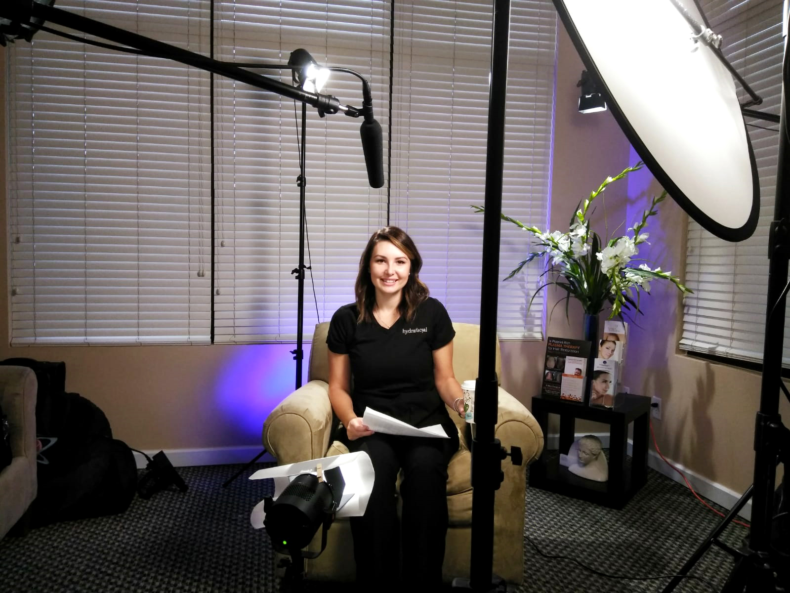 It was a great performance by Nichole Corr-Harris, Licensed Esthetician during filming the interview section of the new Hydrafacial educational video for Riverchase Dermatology in Fort Myers, FL.