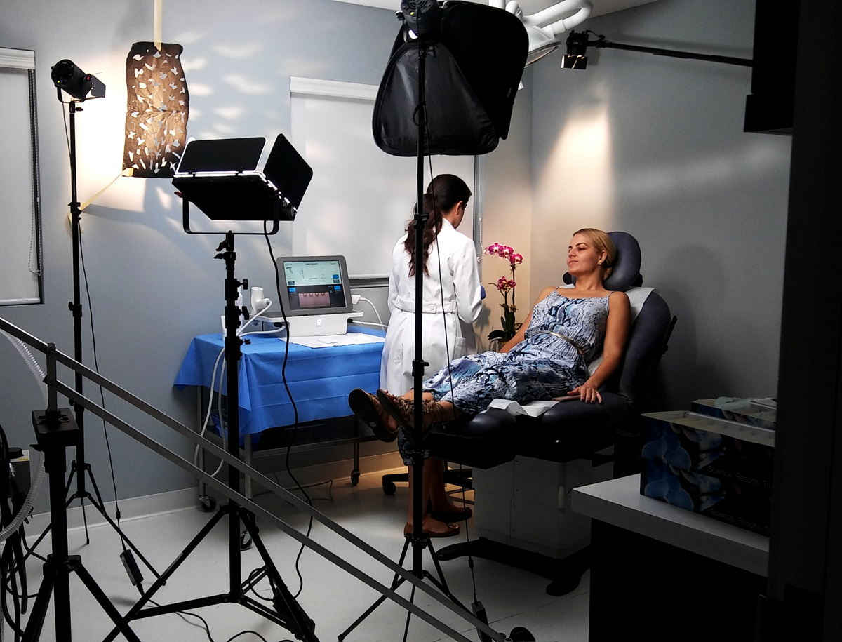 Monica Ponce, PA-C, certified physician assistant at Sunset Dermatology performing during the promotional video production.