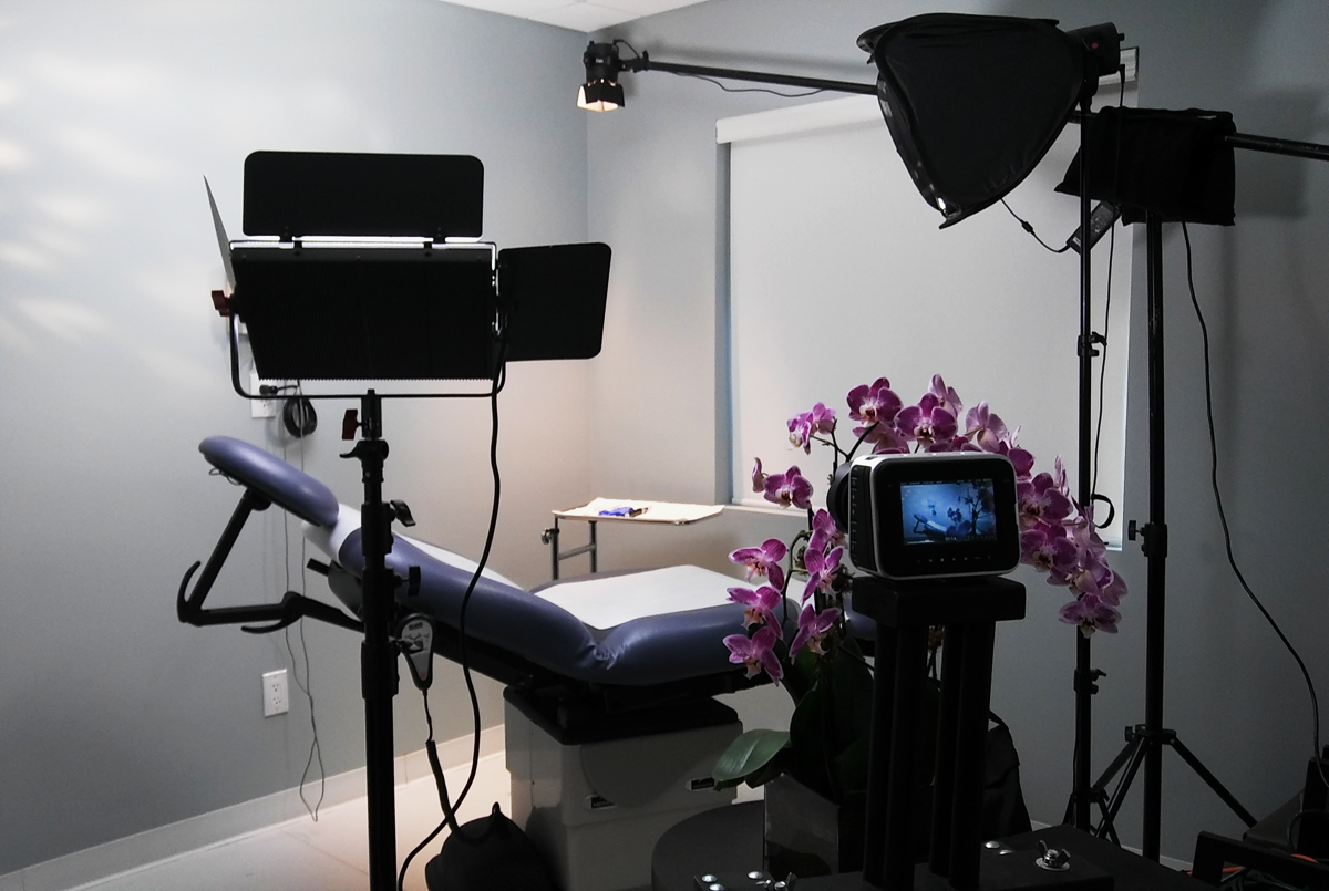 Room setup for the filming of the promotional video at Sunset Dermatology in South Miami.