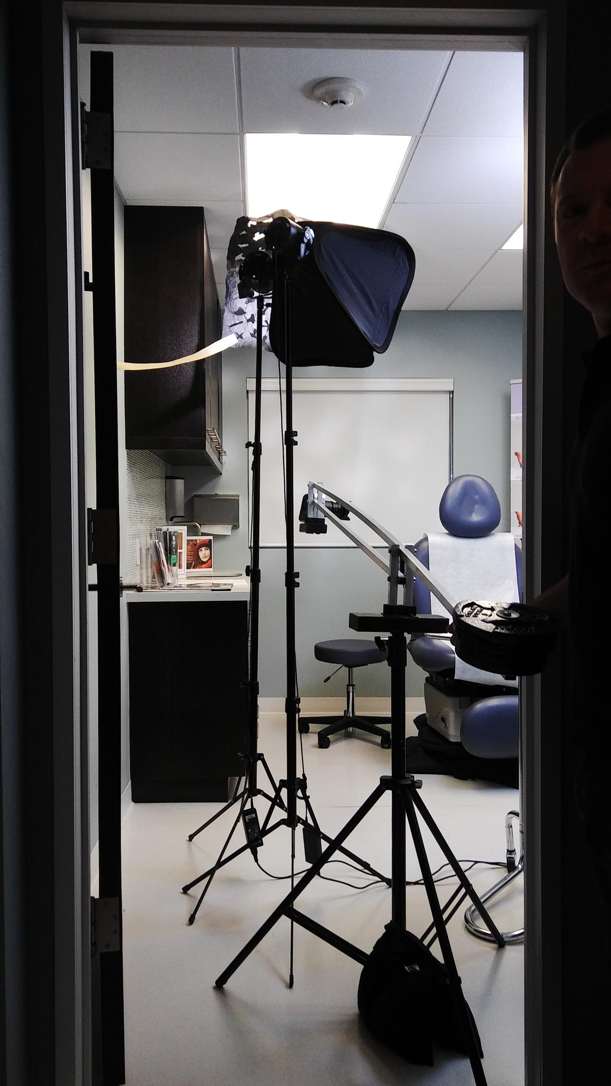 Sunset Dermatology promotional video filming day scene setup photo.
