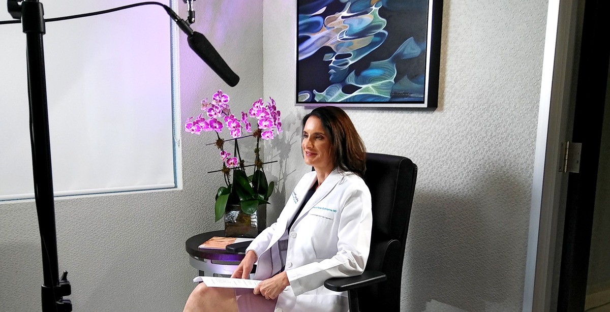 Behind the scenes photo of Dr. Ileana Perez-Quintairos during the interview filming for Sunset Dermatology new promotional video.