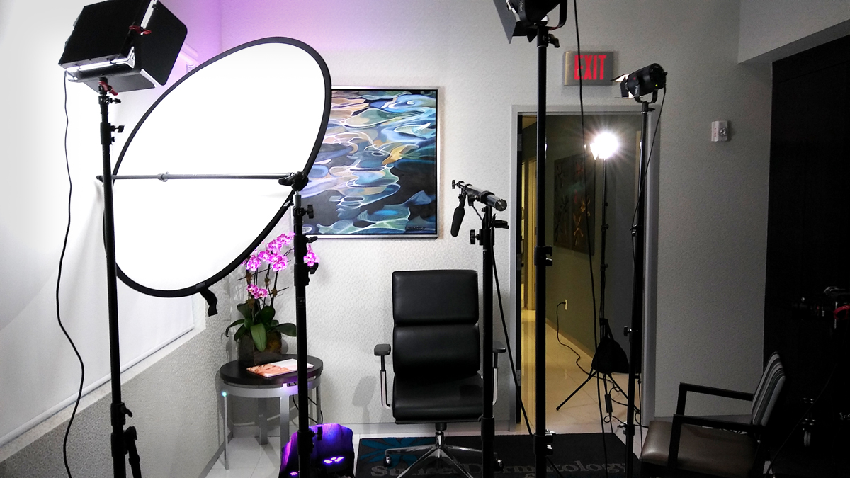 Photo of interview set during promotional video production at Sunset Dermatology in South Florida.