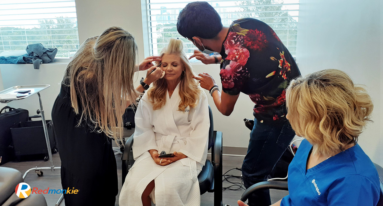 Behind the scenes of the Coolsculpting specialists preparing for the photo session.