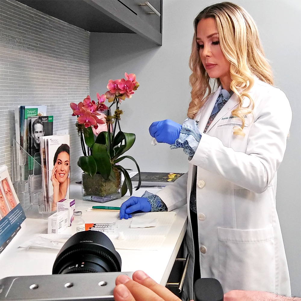 Dr. Annie Gonzalez in action during the filming of Botox, Dysport and Xeomin educational video filming at Sunset Dermatology.