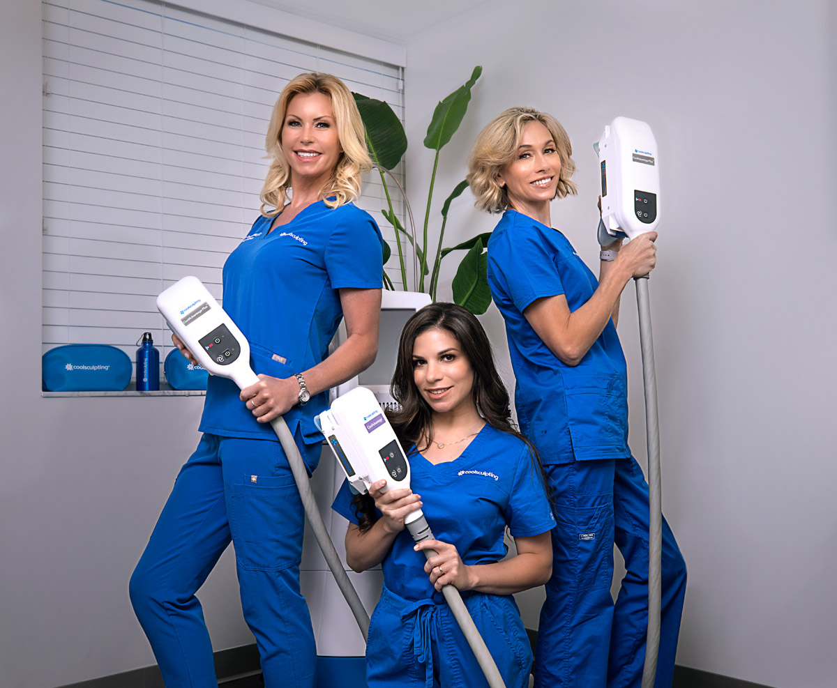 Carla Homez, C.M.A., Tammy Cobb, and Ruth Bayer CoolSculpting Specialists at Riverchase Dermatology.