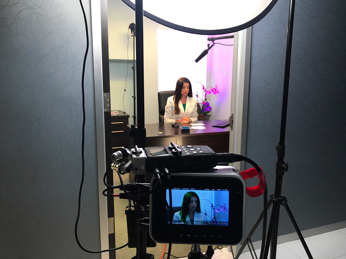 Monica Ponce, Certified Physician Assistant at Sunset Dermatology, during the filming of the new Sclerotherapy educational video been produced by Redmonkie® in South Miami.