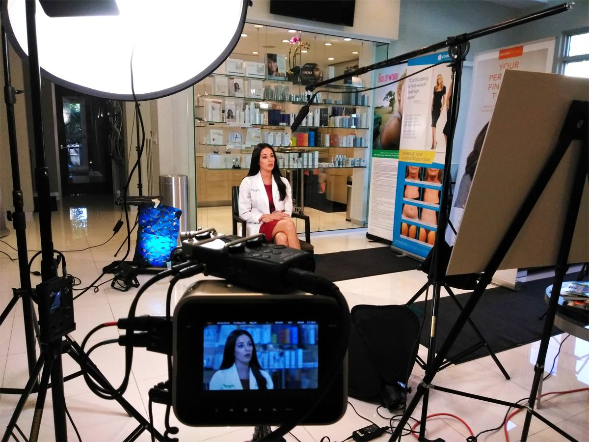 Great performance of Natalie Diane Suarez during the new educational video filming about Micro-Needling for Sunset Dermatology in Miami.