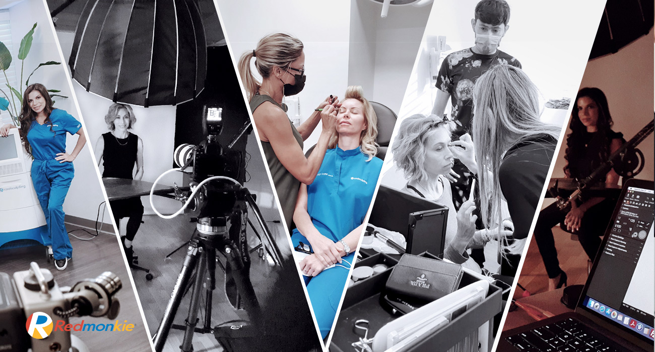 Behind the scenes at Bowes Dermatology by Riverchase in Miami during production of CoolSculpting video and photo shoot.