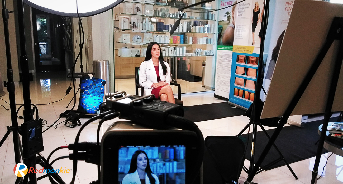 We are on site working with nationally certified and state licensed physician assistant, Natalie Suarez from Sunset Dermatology, on her first educational video production; and she is doing fantastic.