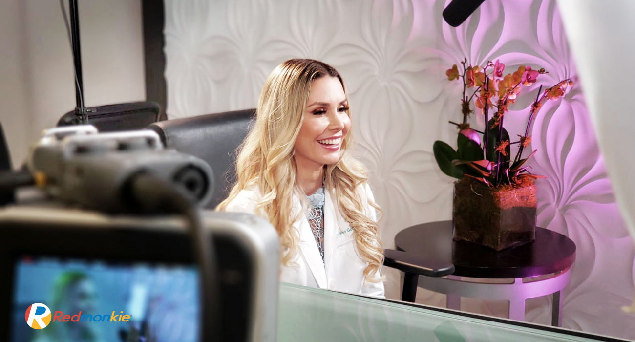 Behind the scenes photo of Dr. Annie Gonzalez for Botox, Dysport, and Xeomin neuromodulators educational video production.